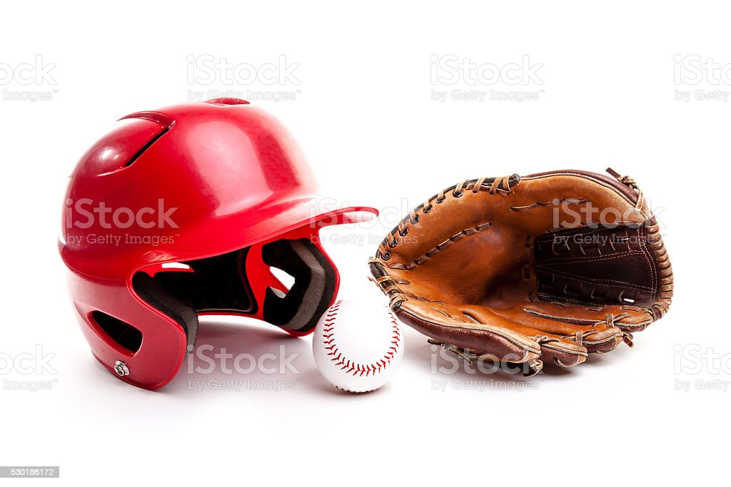 Baseball Helmet, Glove and Ball on White Background stock photo