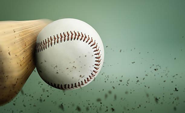 baseball hit stock photo