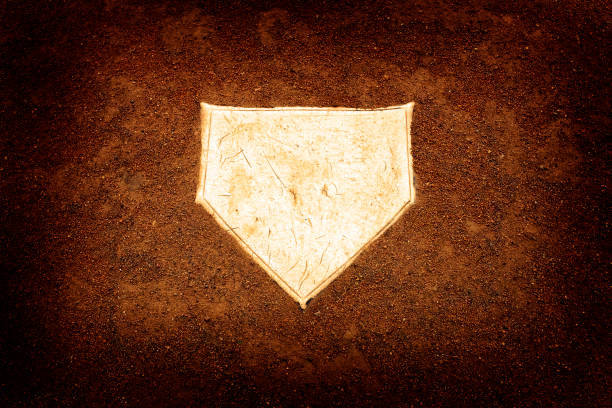 Baseball home plate base ball homeplate representing american sports competition Baseball home plate base ball homeplate representing american sports competition infield stock pictures, royalty-free photos & images
