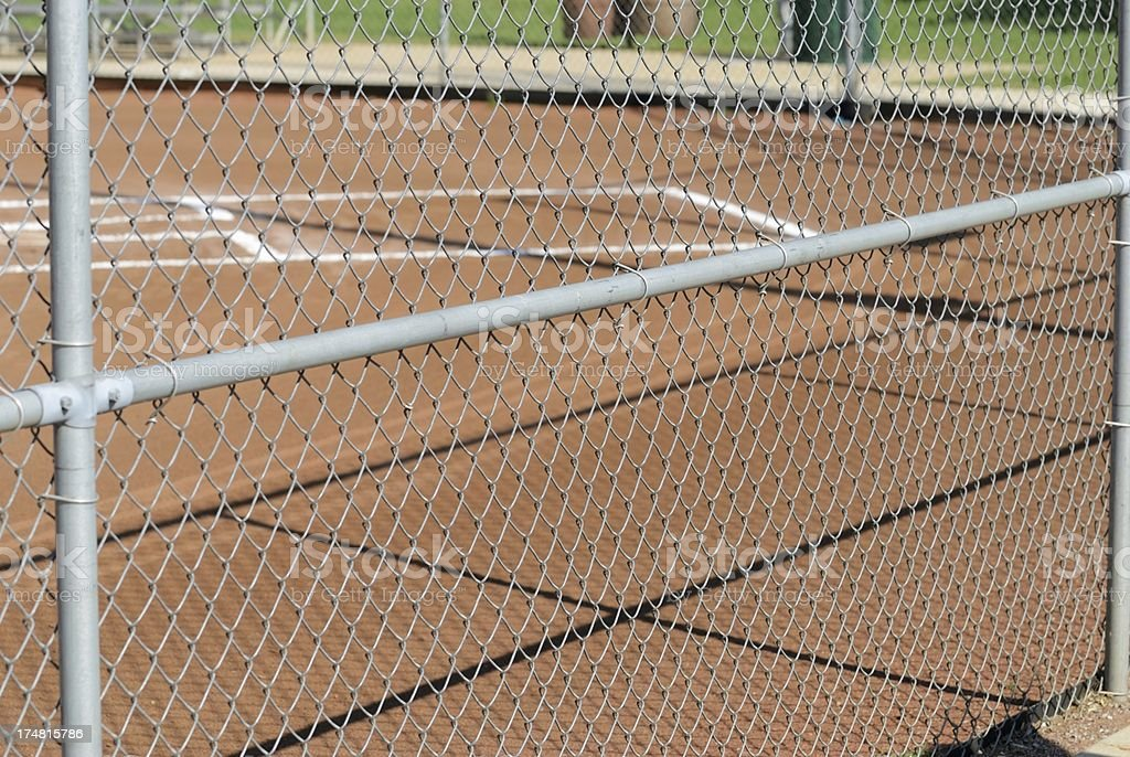 Baseball home plate behind fence royalty-free stock photo