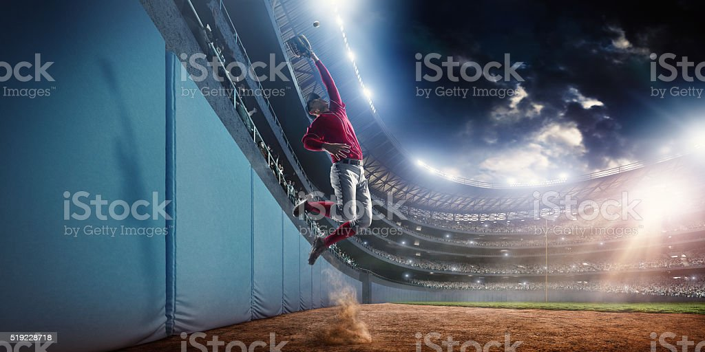 Baseball home run catch stock photo