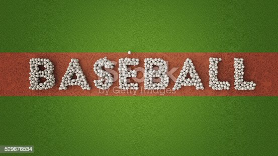 istock Baseball Illustration. Word BASEBALL written with baseball balls. 529676534