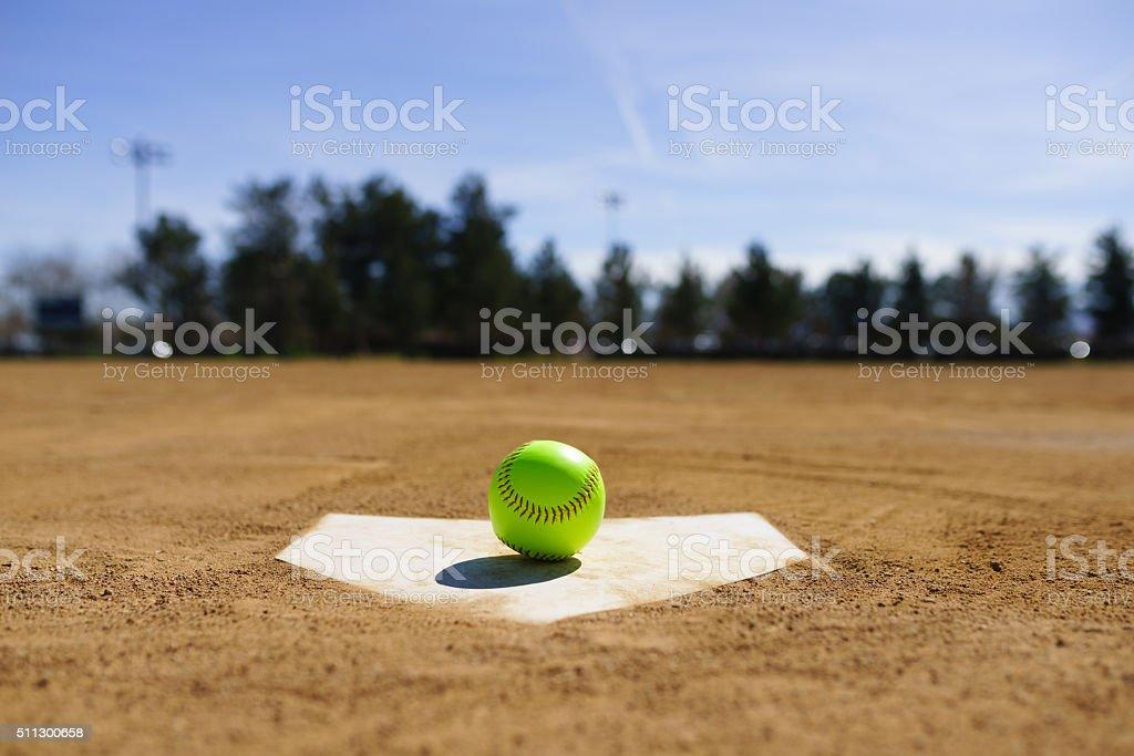 Baseball in a baseball field in California mountains stock photo