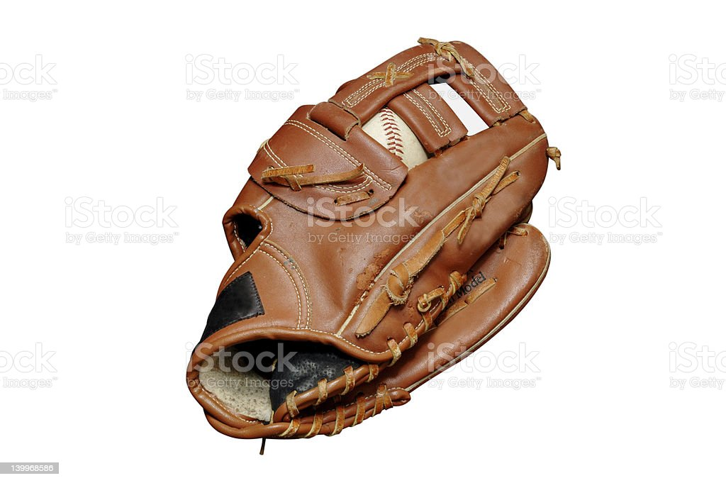Baseball in Glove Isolated royalty-free stock photo