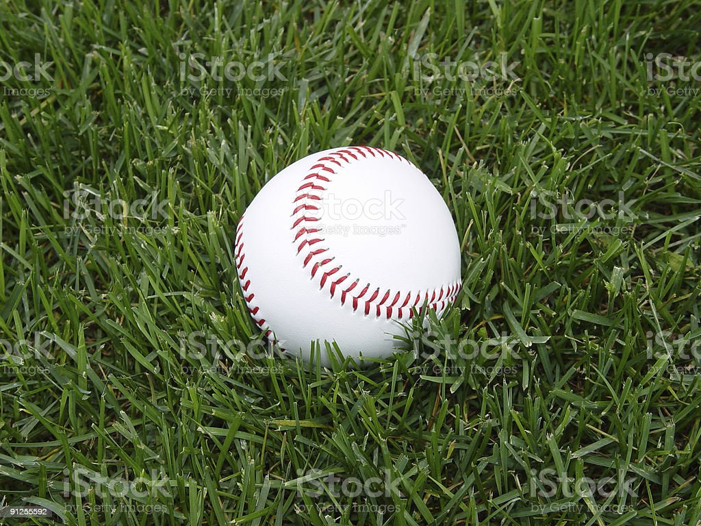 baseball in grass royalty-free stock photo