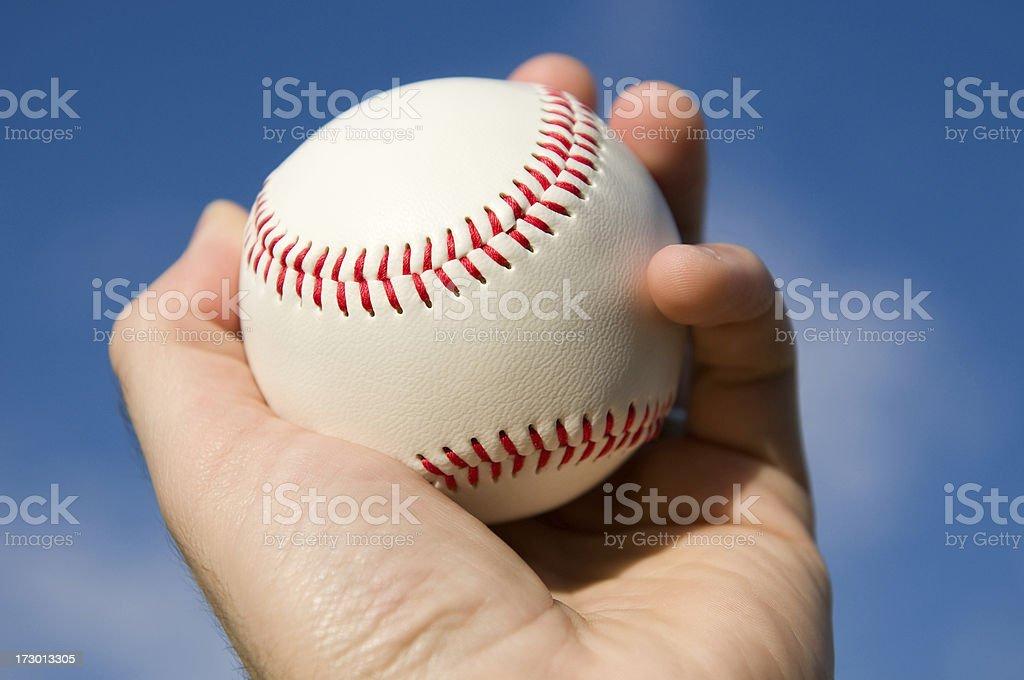 baseball in hand royalty-free stock photo
