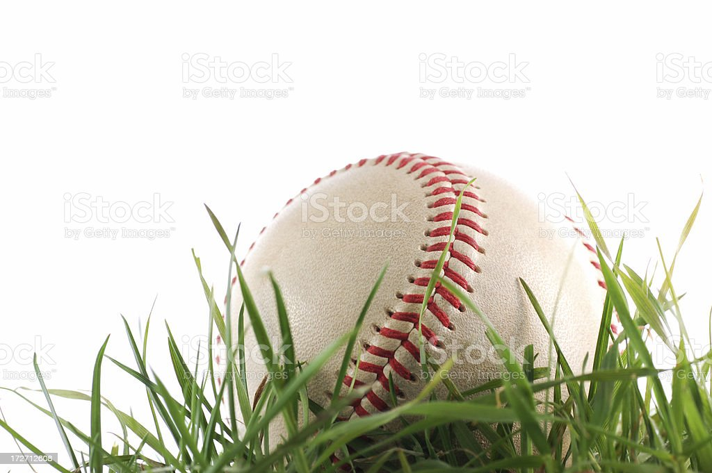Baseball in the field stock photo