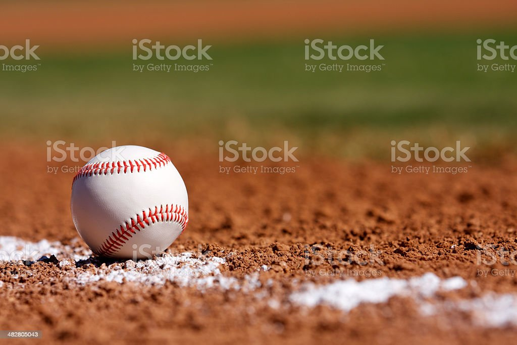 Baseball in the Infield stock photo