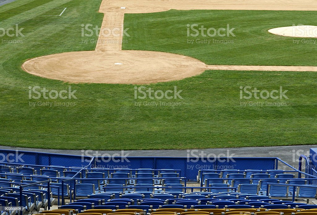 baseball infield and seating stock photo