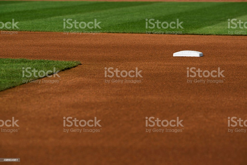 Baseball infield at Second base stock photo