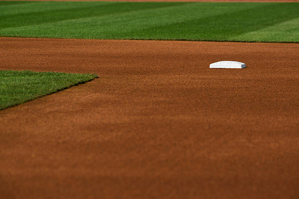 Baseball infield at Second base A Baseball diamond's freshly groomed infield dirt at second base infield stock pictures, royalty-free photos & images