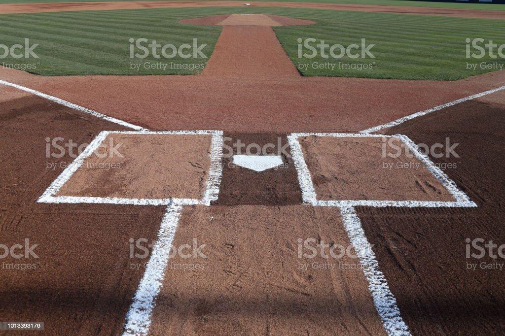 Baseball infield home plate stock photo