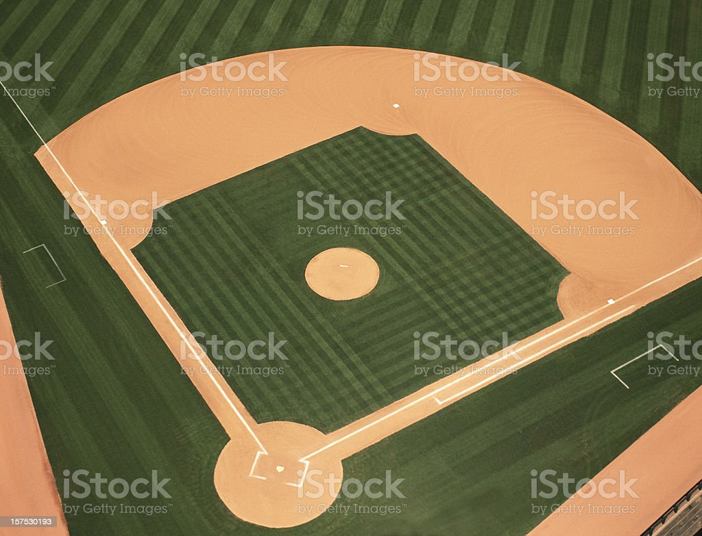 Baseball Infield Photographed From an Aerial View. stock photo