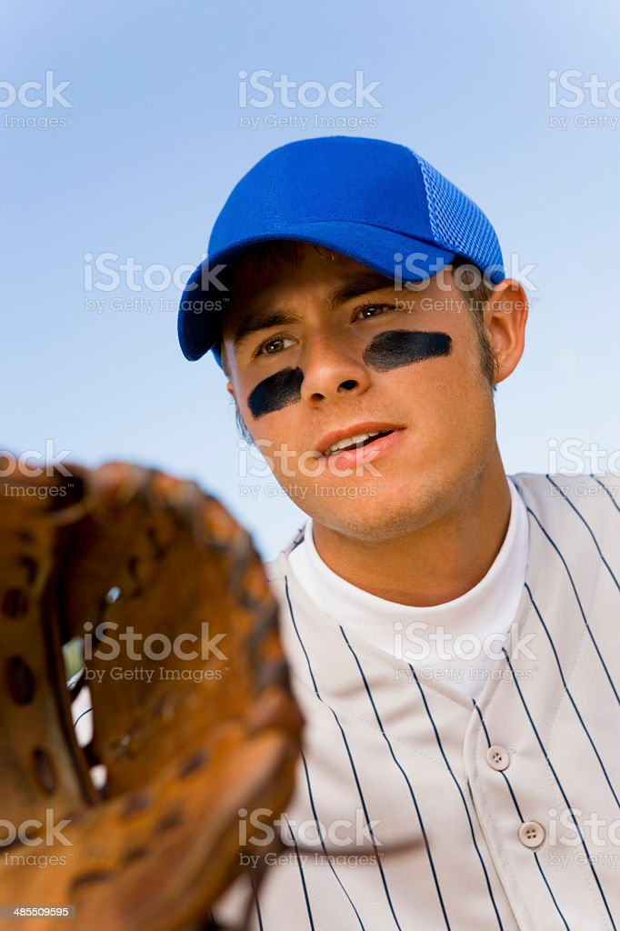 Baseball Infielder Ready For Play stock photo