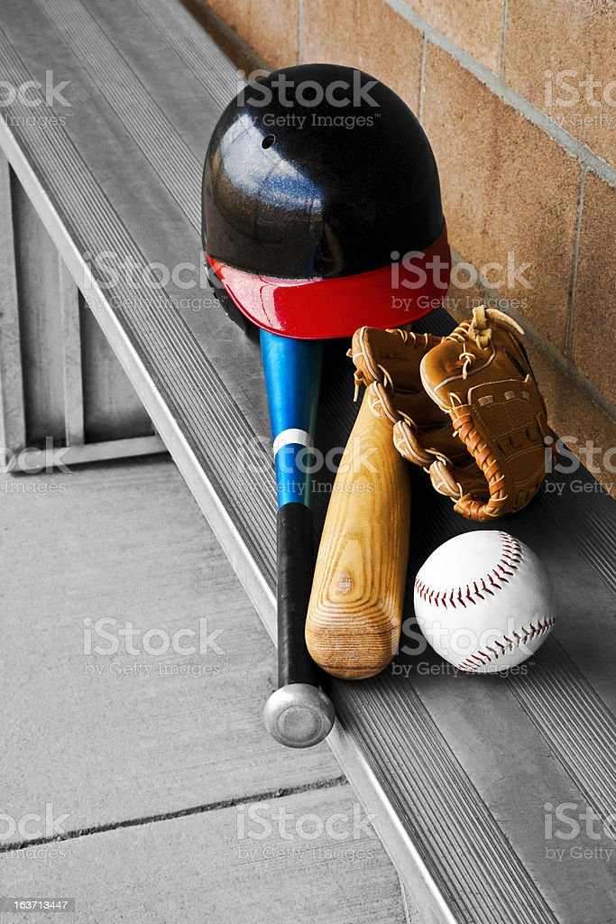 Baseball Metal Bench Dugout Gear royalty-free stock photo