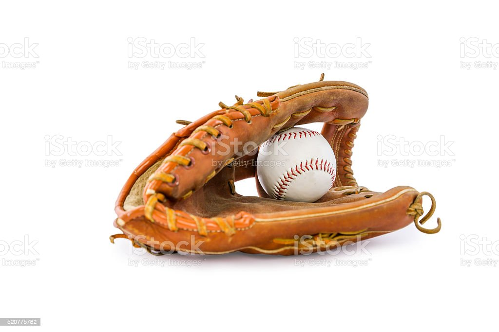 Baseball mitt and ball on white stock photo