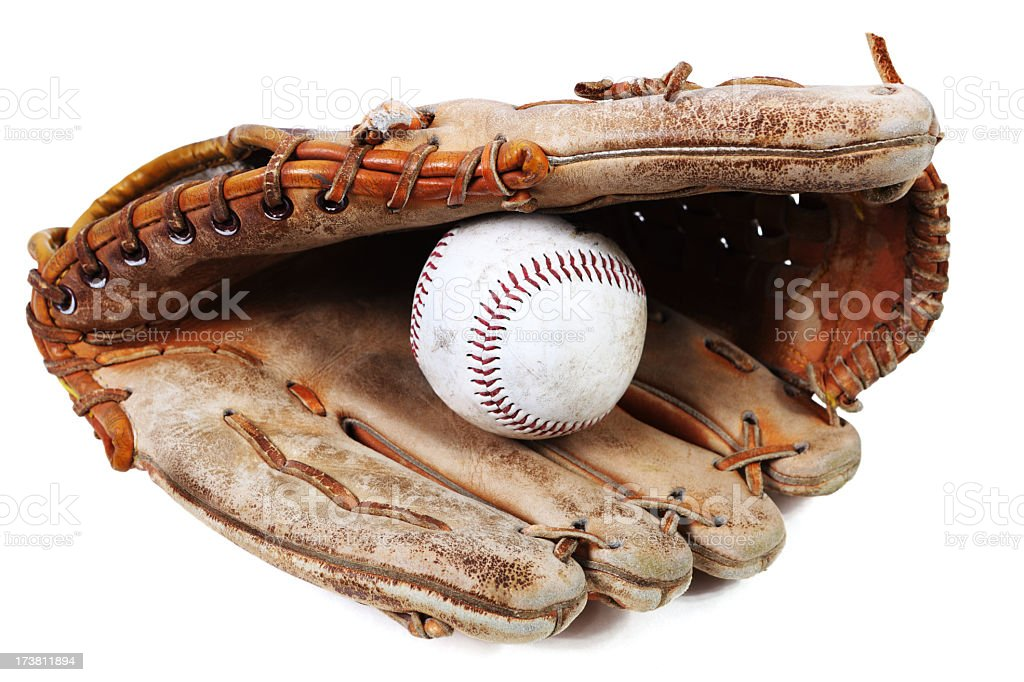 Baseball mitt and ball stock photo