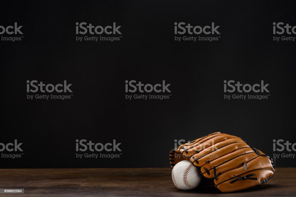 baseball mitt and ball stock photo