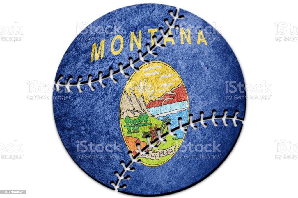 Bandeira do estado de beisebol Montana. Bandeira de Montana fundo Baseball - foto de acervo
