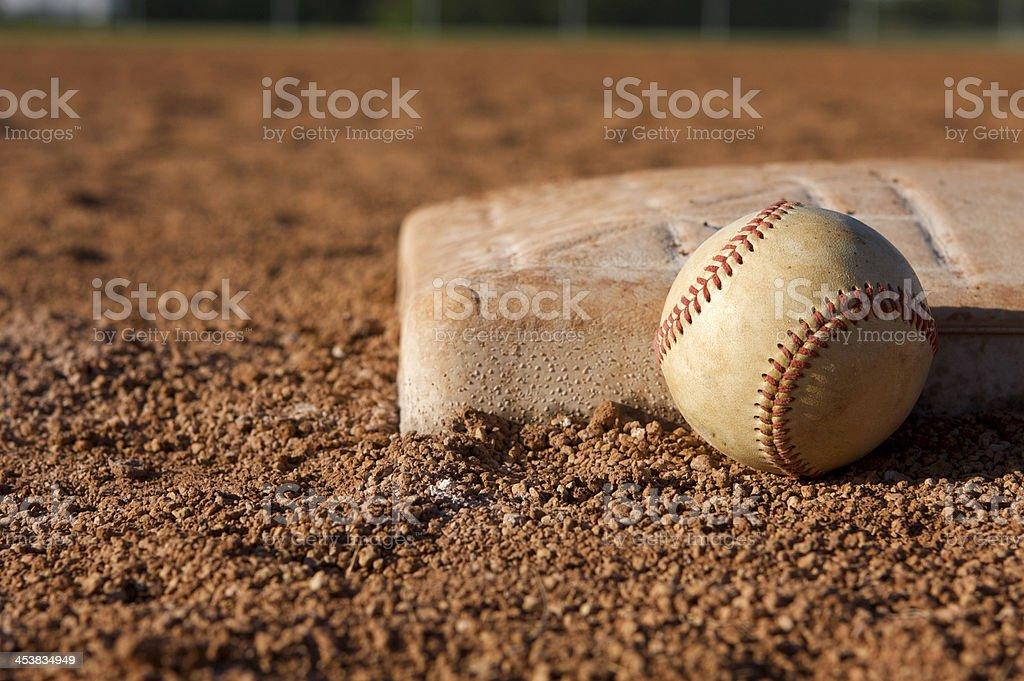 Baseball near First Base royalty-free stock photo