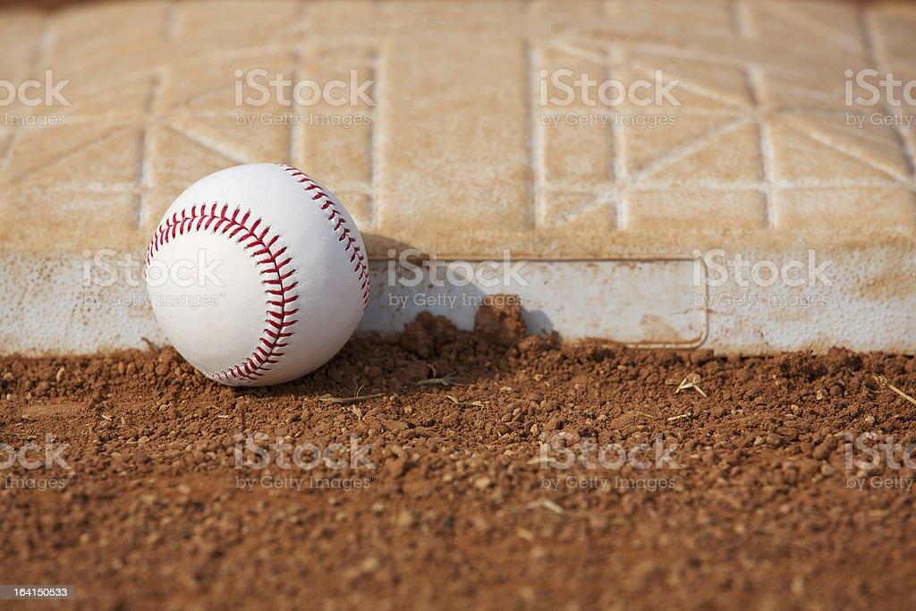 Baseball near Third Base royalty-free stock photo