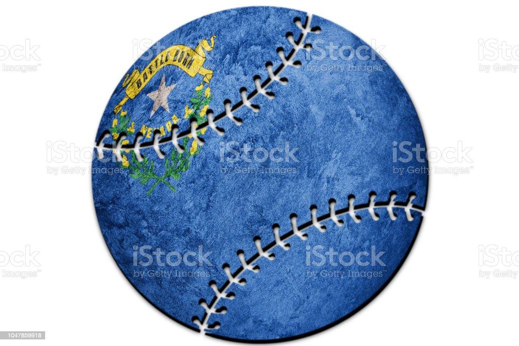 Bandeira do estado de beisebol Nevada. Bandeira de Nevada fundo Baseball - foto de acervo