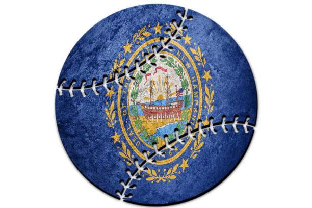 Bandeira de estado de New Hampshire beisebol. Bandeira de Nova Hampshire fundo Baseball - foto de acervo