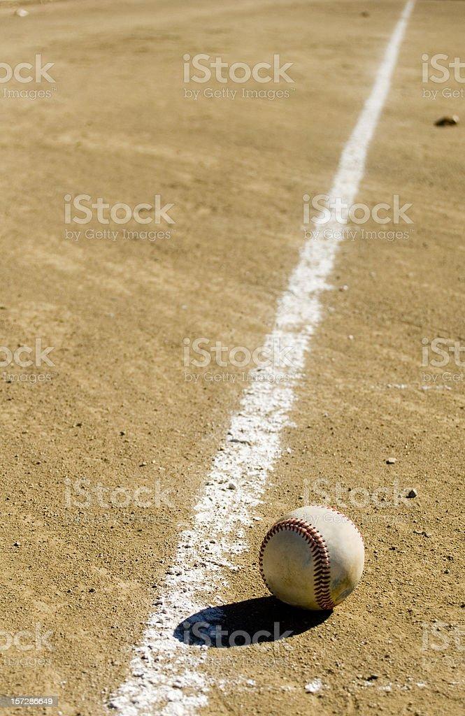 Baseball next to chalk royalty-free stock photo