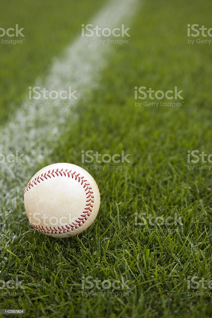 Baseball on a Baseball Field during a Baseball Game stock photo