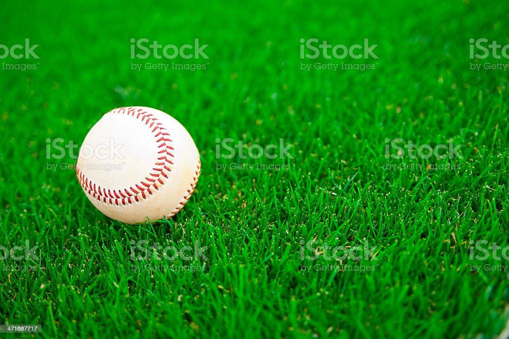 Baseball on a Baseball Field during a Baseball Game stock photo