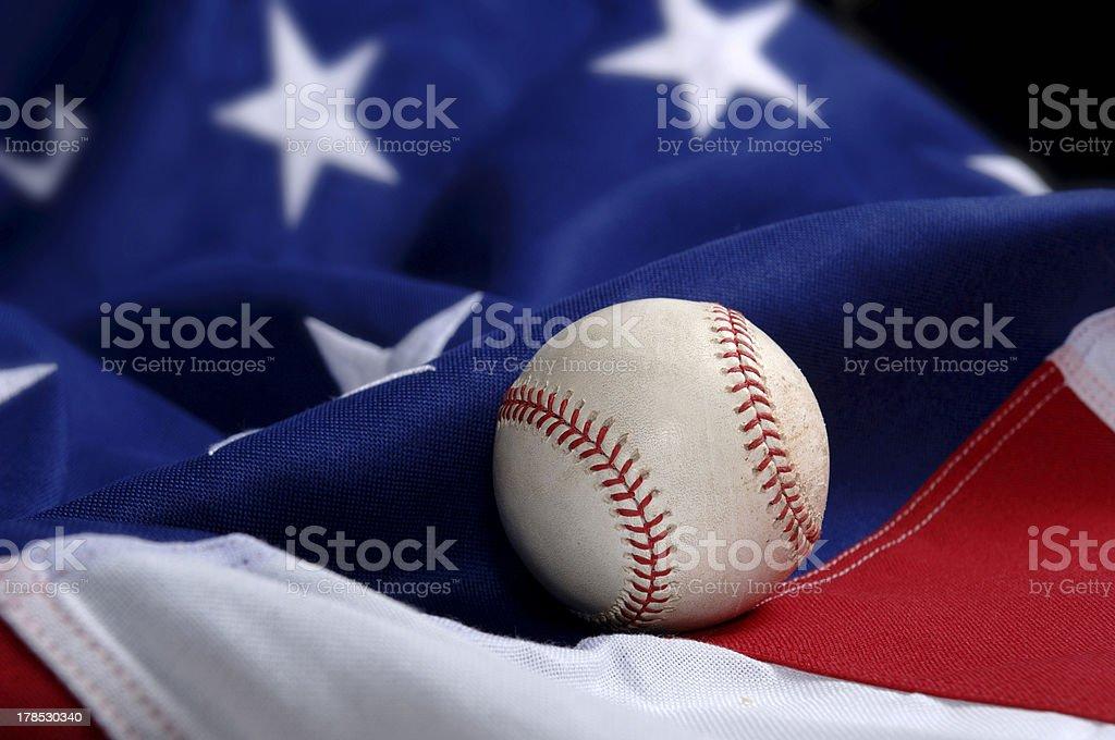 Baseball on American Flag royalty-free stock photo