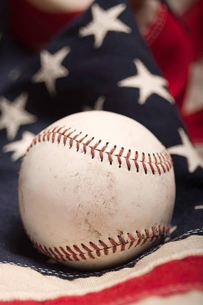 Baseball on an American flag stock photo