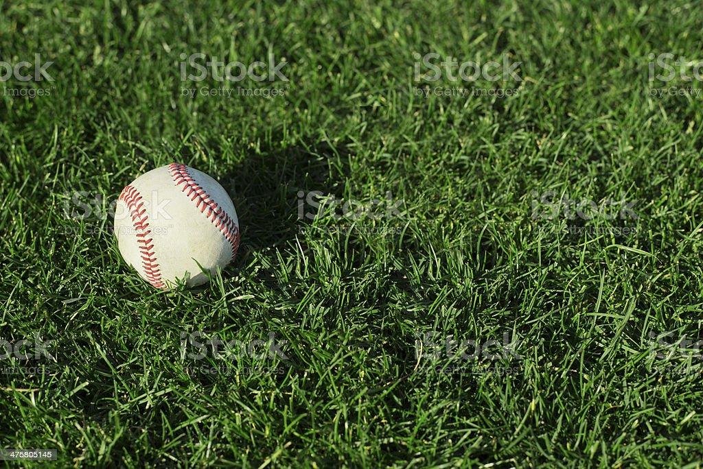 Baseball on field of grass stock photo