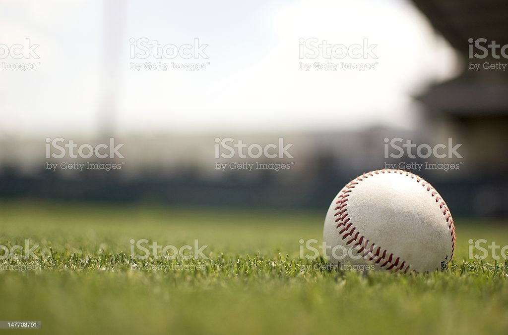Baseball on Field stock photo