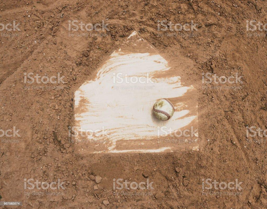 Baseball on field stock photo