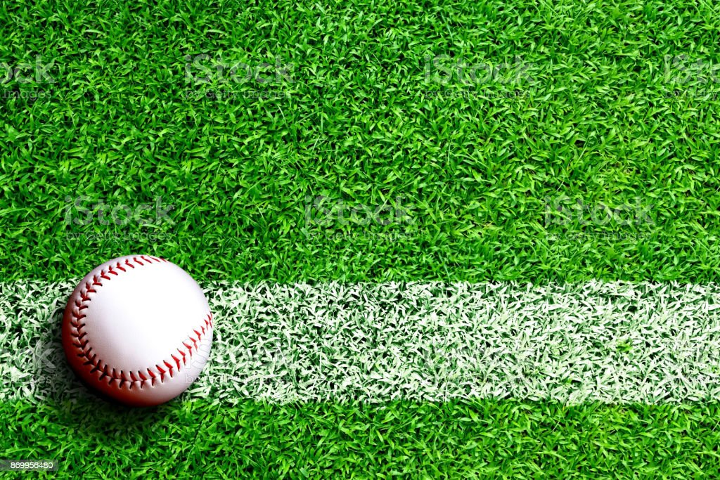 Baseball on Field With Copy Space stock photo