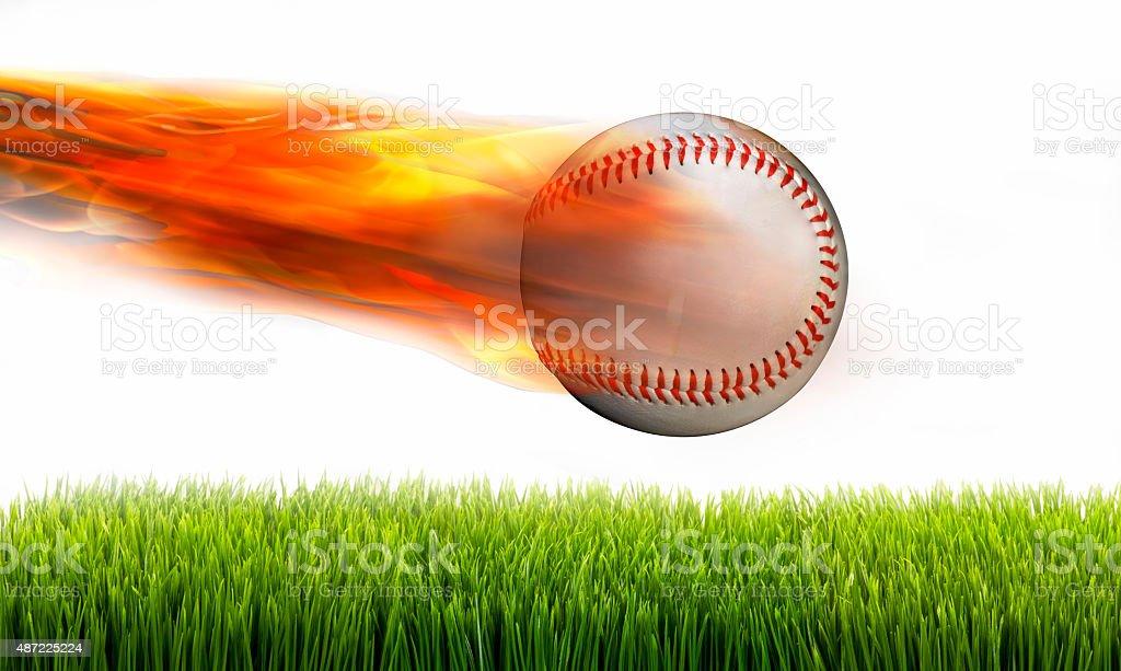 Baseball on Fire. stock photo
