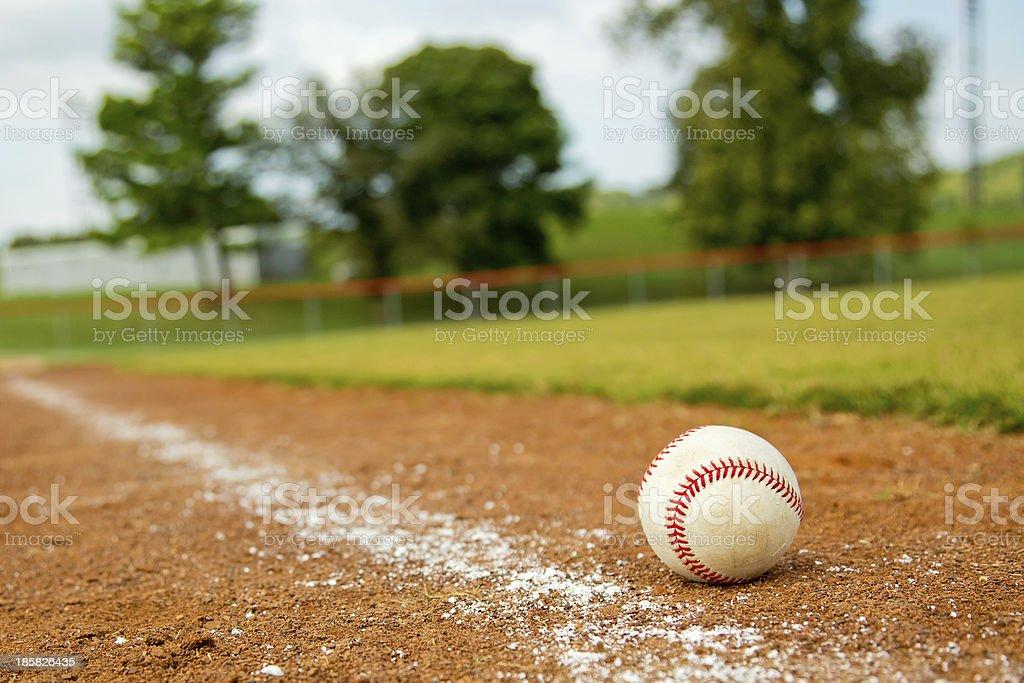 Baseball on Foul line stock photo