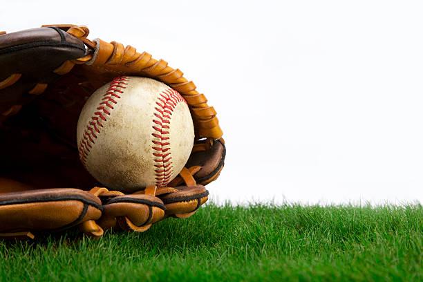 Sur de l'herbe avec Gant de Baseball - Photo