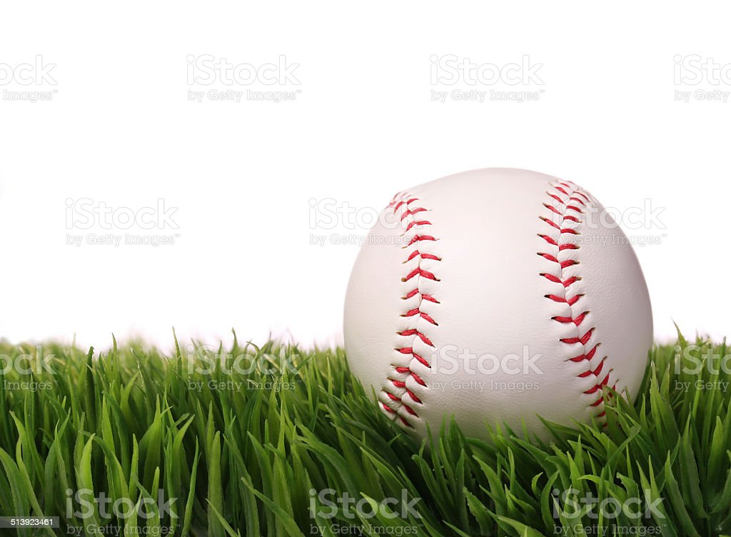 Baseball on Green Grass, isolated on white. Ball stock photo