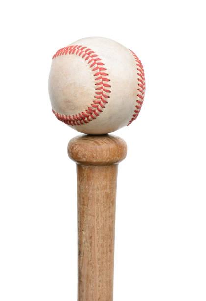 baseball on knob of bat - baseball bat stock photos and pictures