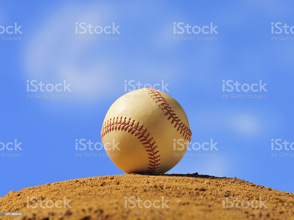 Baseball on outdoor mound royalty-free stock photo