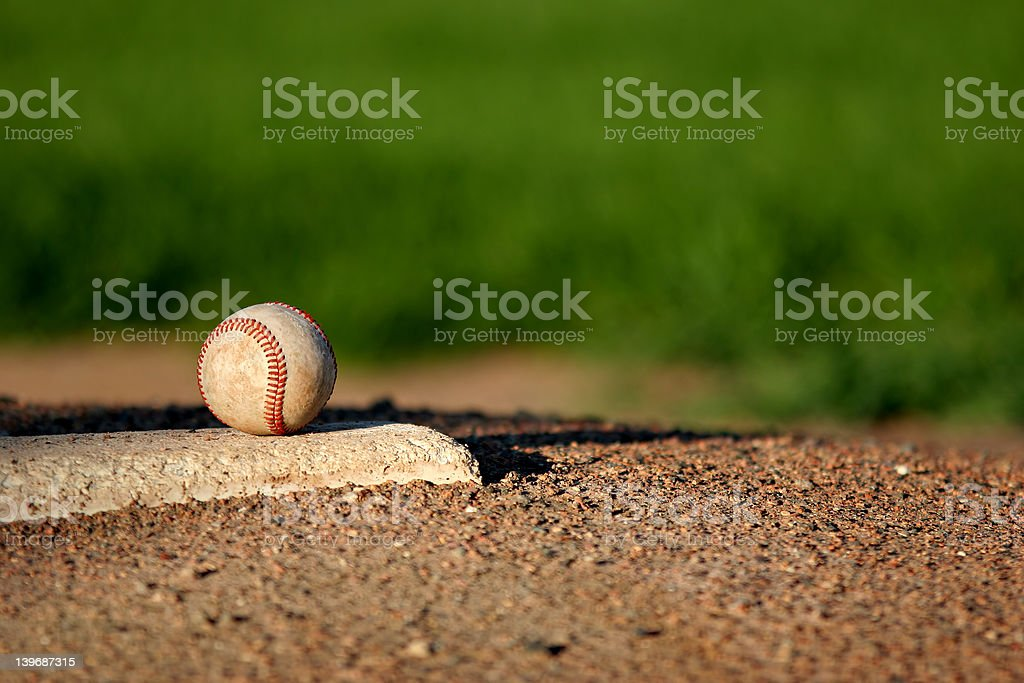 baseball on pitchers mound stock photo