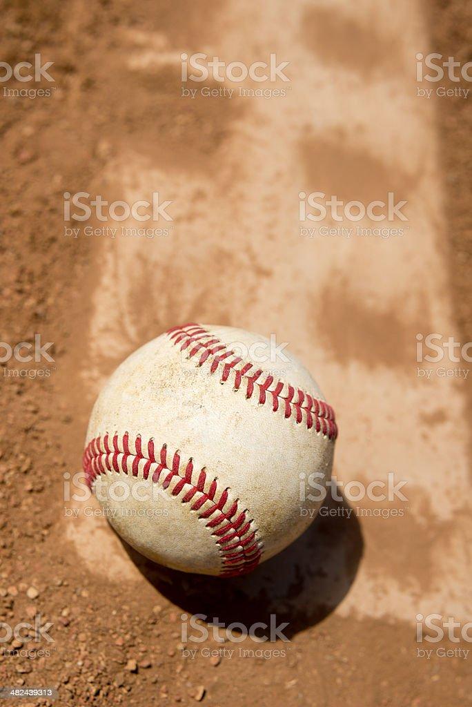 Baseball on Pitchers Mound Rubber. royalty-free stock photo