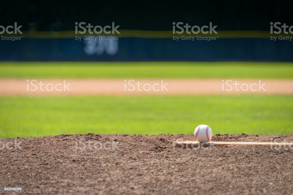 Baseball on Pitcher's Mound - Telephoto stock photo