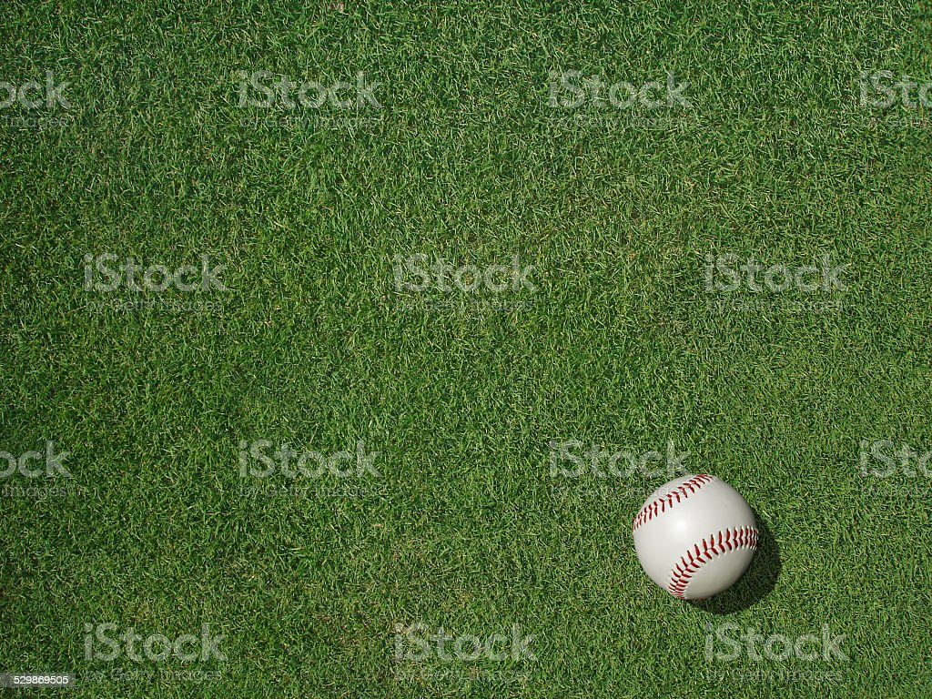 Baseball on Sports Turf Grass stock photo