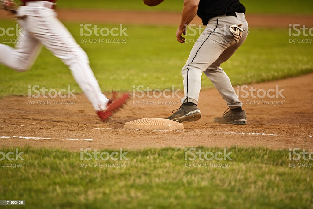 Baseball on the diamond stock photo
