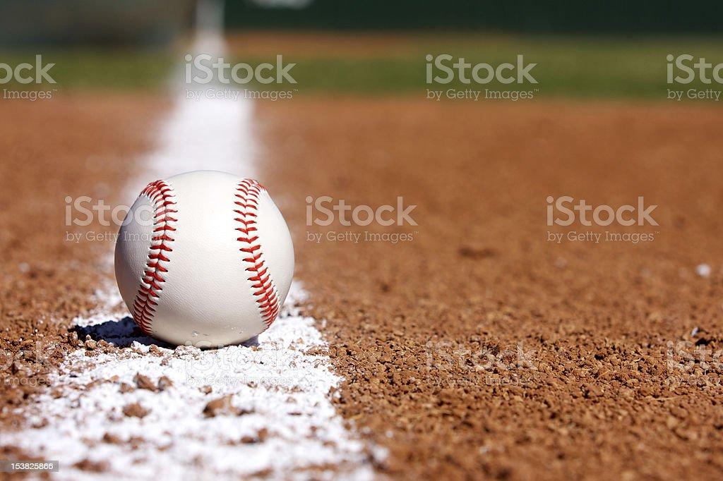 Baseball on the Infield Chalk Line stock photo