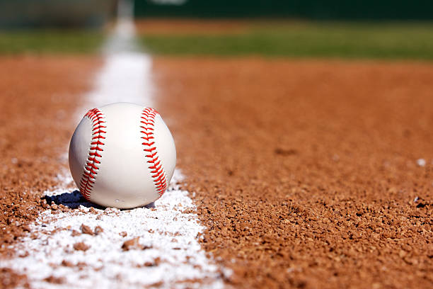 Baseball on the Infield Chalk Line Baseball on the field infield stock pictures, royalty-free photos & images
