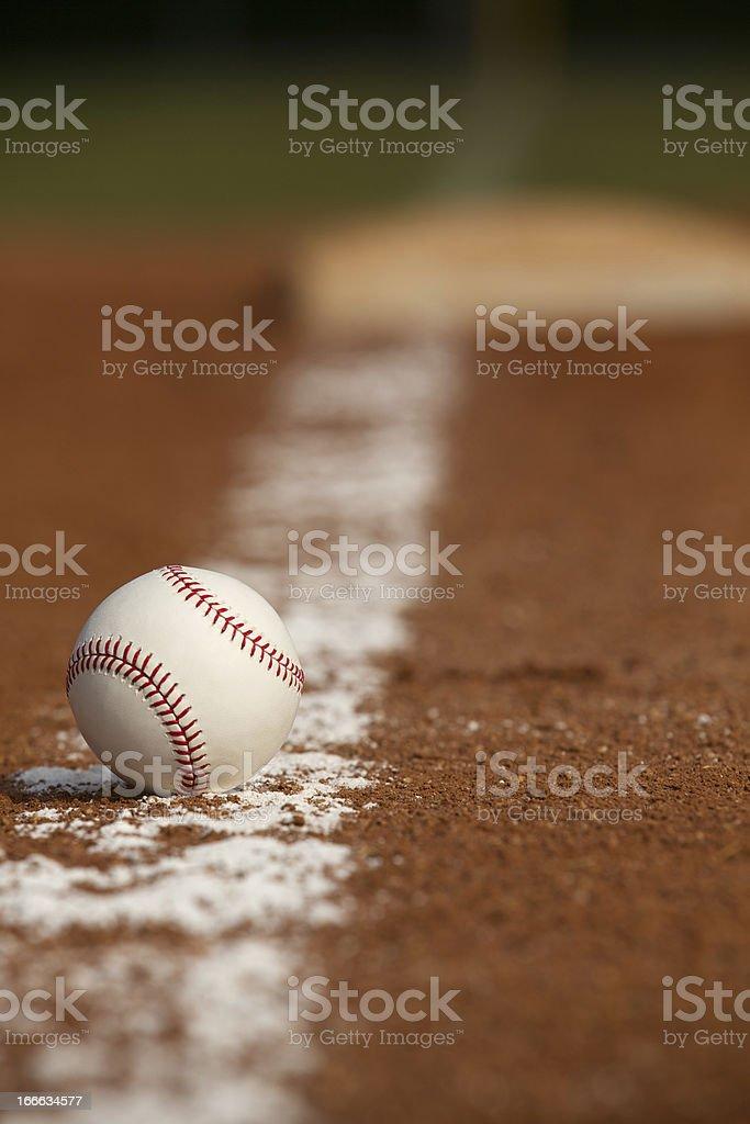 Baseball on the Infield Chalk Line royalty-free stock photo
